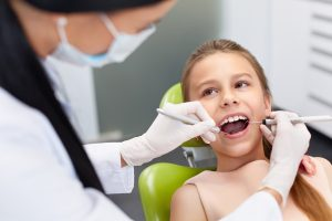 Young girl at dentist