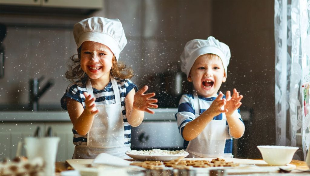 Kids baking during the holidays